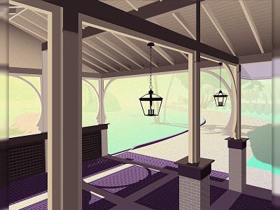 Jekyll Island Club Resort illustration illustrator texture driveway brick wood building sunset sunrise island jekyll georgia