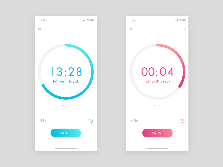 Count down timer app UI design - Daily Ui 014 clock timer app concept daily 100 minimal ios appdesign dailyui app flat ux ui design