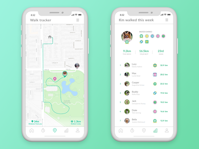 Social dog walking app concept - Daily UI 020 london ios app ios fitness app fitness geo location location tracker maps pet app dog app pets dog daily 100 challenge daily ui 020 daily 100 appdesign app dailyui ux ui