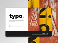 Typo home page design concept