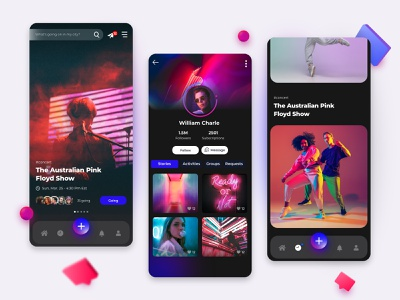 LifeStyle Social Network social networking app colorful profile young life lifestyle dark theme dark mode neon colors social media design social network