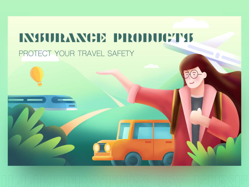 Insurance Products #1 travel car plant ps sketch color illustration design ui