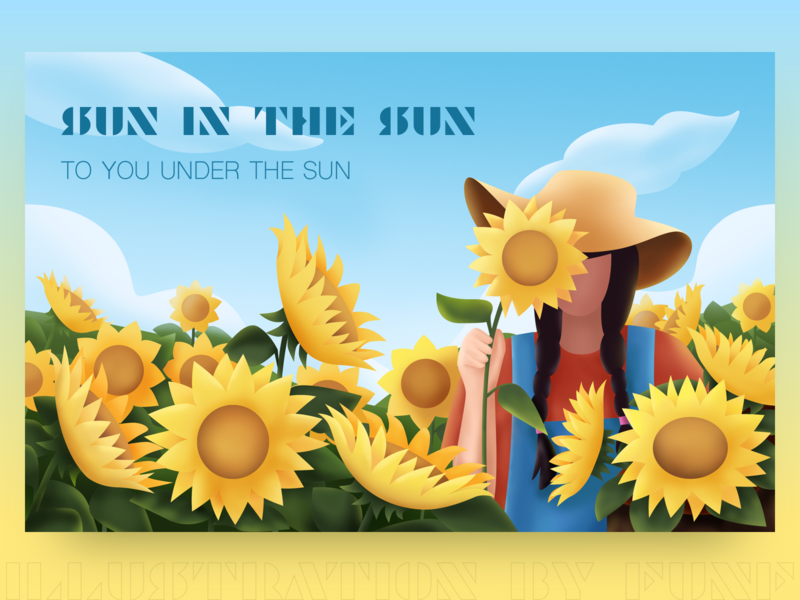 Products illustration #6 plant girl woman flower sunflower sun color design illustration