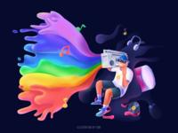 Music player #1 fluid headset sound rainbow music ps sketch color design illustration