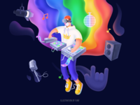 Music player #2 sound rainbow fluid microphone music ps sketch color illustration