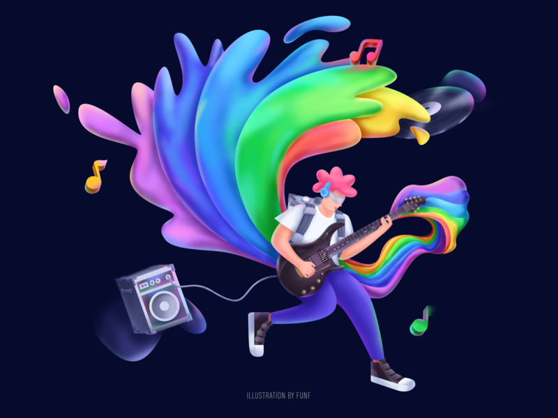 Music player #3 rainbow guitar player music ps sketch color illustration