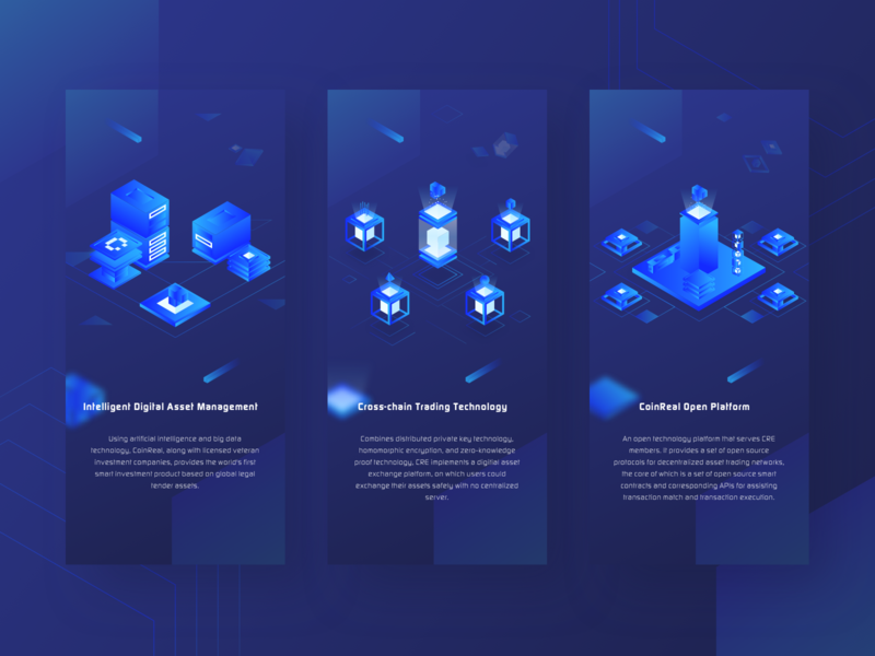 """CRE"" Product description 2 2.5d link connection sketch block introduction color coin illustration blue ui"