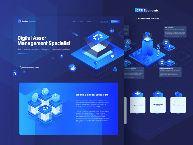 CRE Landing page app square link product color 2.5d illustration block chain blue web ux ui design