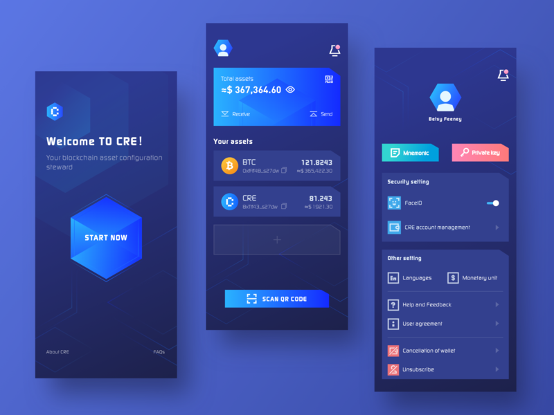 CRE Wallet #1 wallet blockchain coin app block 2.5d web sketch design color blue ui