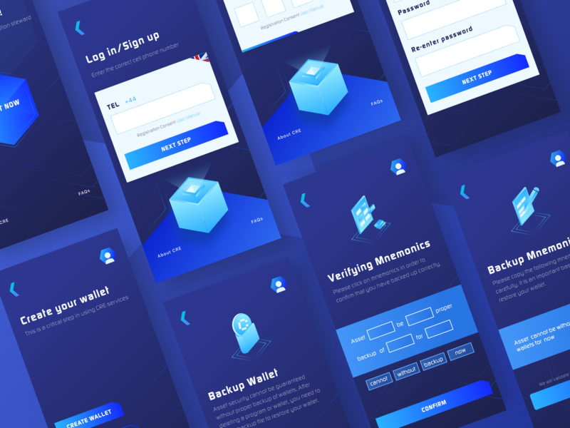 CRE Wallet #2 cards ux block chain blockchain link coin block app 2.5d sketch illustration design color blue ui