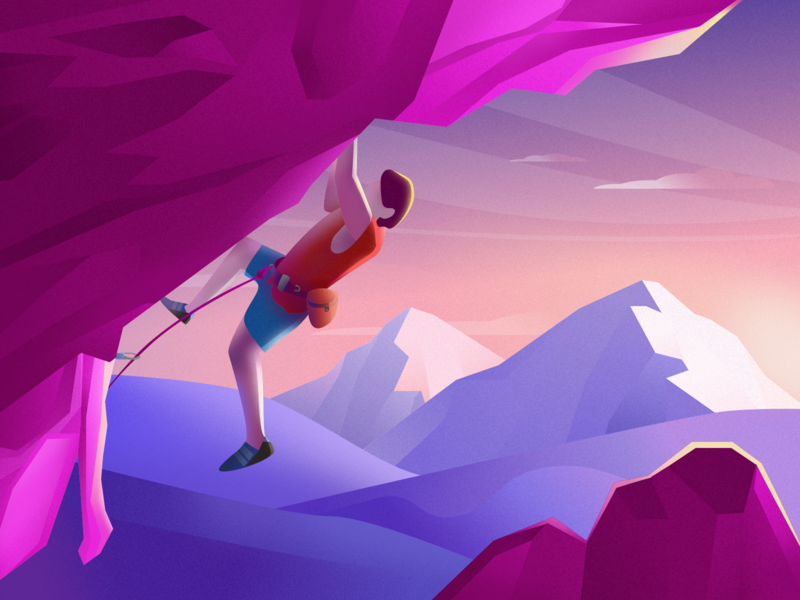 Traveler-4 mountain climb climbing purple sketch illustration popular color design ui