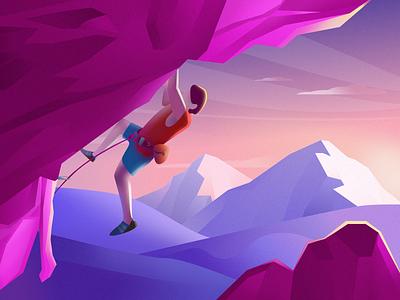 Traveler-4 mountain climb climbing purple sketch illustration popular color design ui