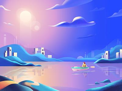 Traveler-6 boating mountain ferry cloud sky landscape plant sketch illustration color design ui