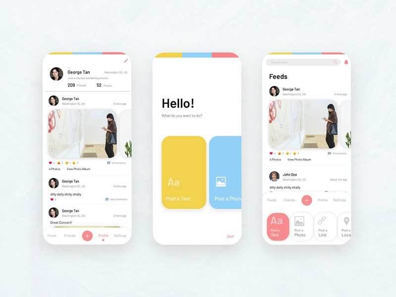 Social Media app home simple design clean user interface application interface mobile app ui