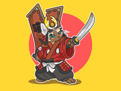 Samurai Cat japanese katana yellow red lovely illustrations color cat samurai