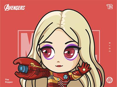 """The Avengers-Virginia """"Pepper"""" Potts-illustrations super red pepper number illustrations hero girl color avenger"""