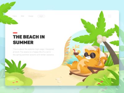 Sunbathing in summer-illustration design web colour flowers tree beach illustration sunbathing summer cat