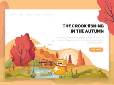 The crook fishing in autumn-illustration page login design web colour flowers tree autumn illustration fishing crook cat