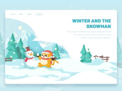 winter and snowman-illustration snow web tree page login illustration design snowman colour cat winter