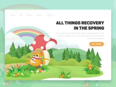 All Things Recovery In The Spring rainbow web tree login  page illustration flowers design colour cat