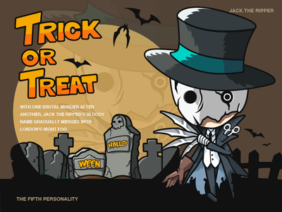 Happy Halloween-illustration design treat trick design yellow jack the ripper man illustrations color