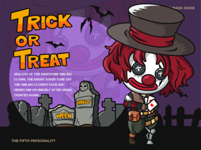Happy Halloween-illustration design smile and fake dick clown treat trick design red illustrations color