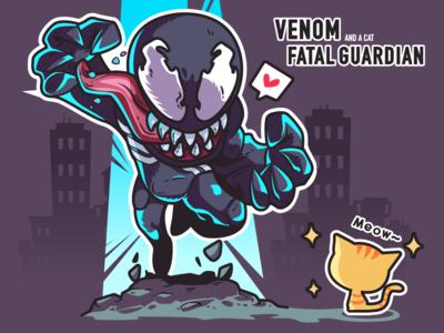 venom-illustrations venom lovely the cat design super hero illustrations color