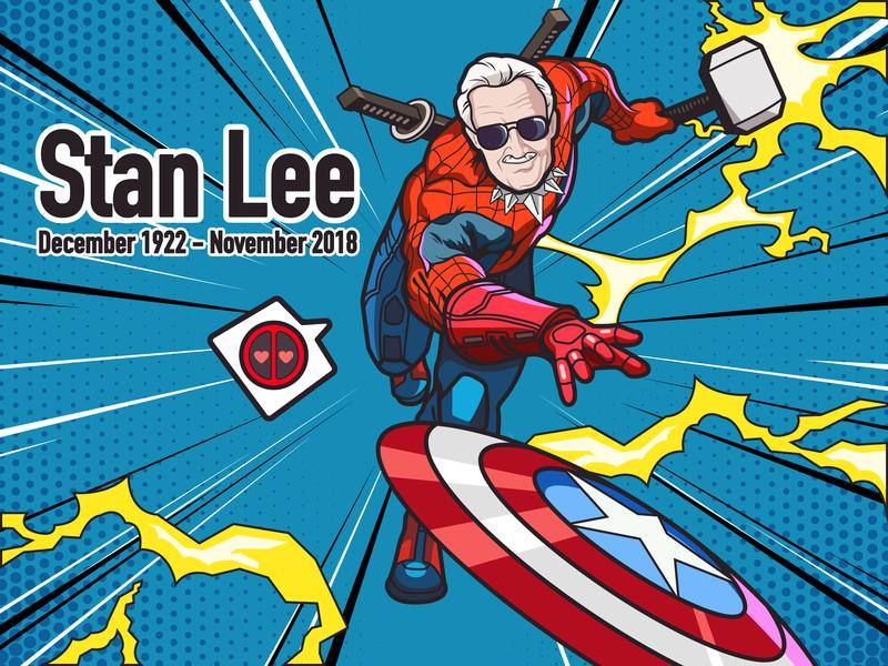 Super Hero-Stan Lee-illustrations stan lee design red hero super illustrations color