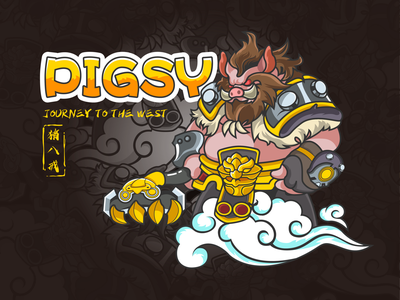 Pigsy-Journey to the West-illustration super yellow man design journey to the west pigsy hero illustration color
