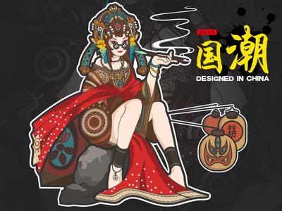 Peking Opera-illustrations illustration girl red peking opera designed in china illustrations color