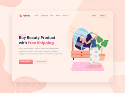 Beauty Product Illustration   Website Header