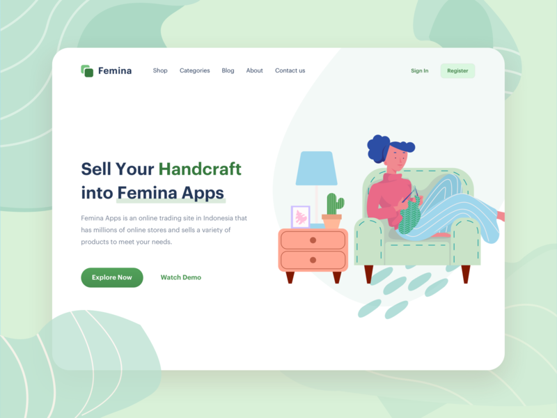 Handcrafted Illustration   Website Header handcraft activity woman girl onboarding design vector landingpage web website illustration header ui