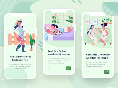 Women s Learn   Socialize Illustration app mobile activity girl beauty woman design onboarding ui illustration