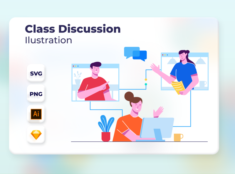 Class Discussion app onboarding vector design landingpage web website header ui illustration