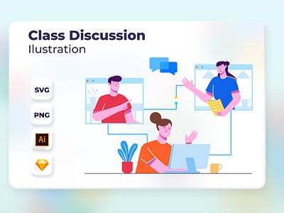 Class Discussion app onboarding vector design landingpage web website header ui illustration