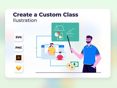 Create a Custom Class education school class app onboarding vector design web website header ui illustration
