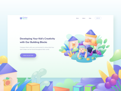 Header For Landingpage  Timberblock vector debut onboarding toys ui websita landingpage header illustration