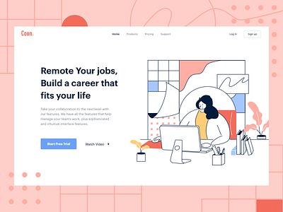 Remote Job Plattform job application management remote design vector illustration website web ui header