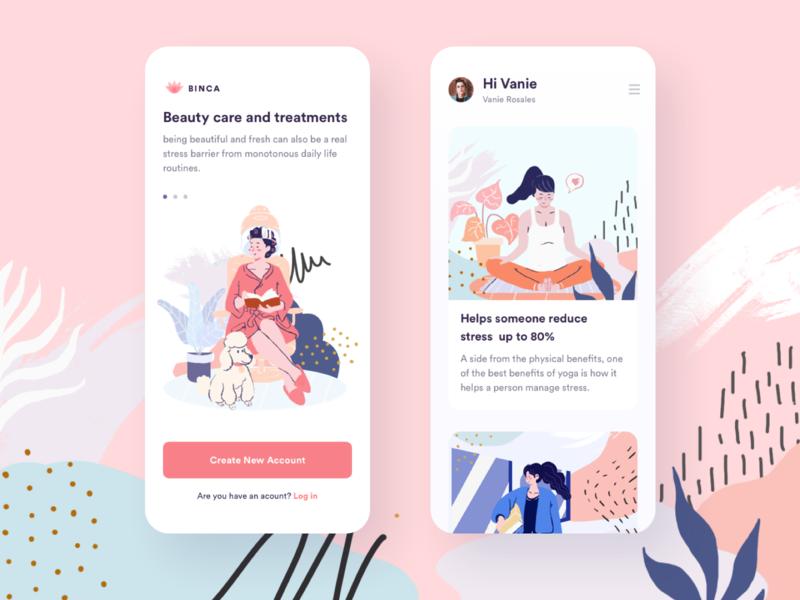 Illustration girls design app illustration app design memphis app illustration ui