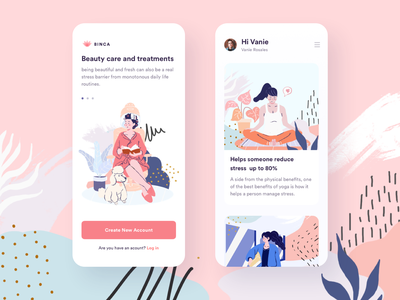 Illustration girls design app illustration app design memphis app illustration ui
