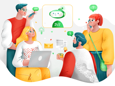 Alan Digital assistant bot chatbot colorful illustrator character web illustration branding ui web illustration