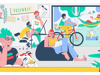 Cowork illustrator ui ux cowork web vector character illustration