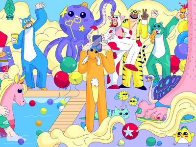 Summer party  with kigurumi web illustration tiger cow octopus jumpsuit onesie kigurumi character illustration
