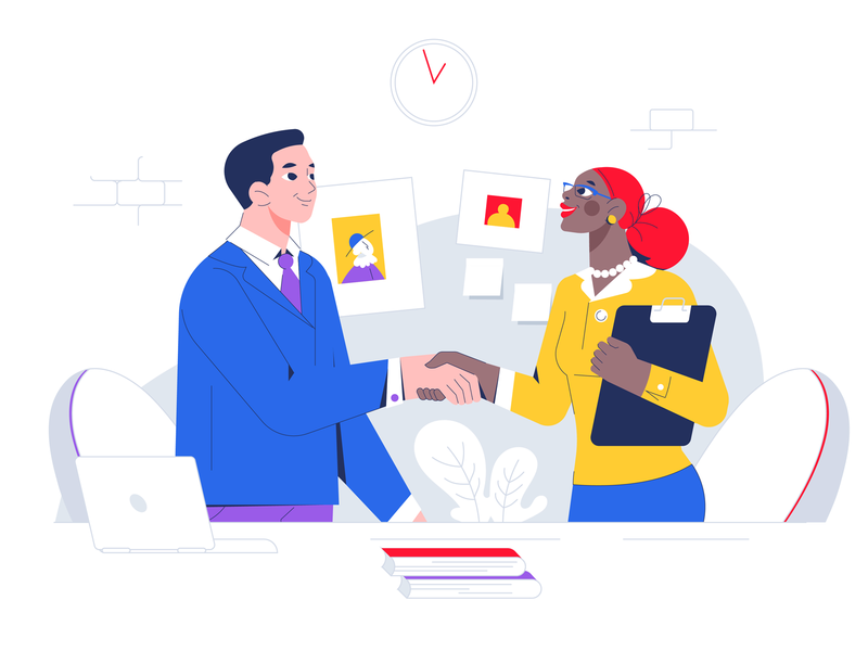 Realty assist handshake agreement business ux ui web illustration