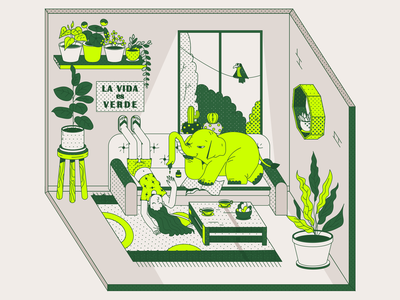 Quirky green Elephant and some icons for Rooted icon set icons cactus patterns plants bird elephant web illustration character vector ux ui illustration