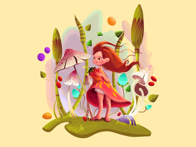 strawberry drawing design children tale forest strawberry girl colorful character paint mushroom illustration