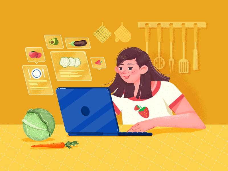 Food And Recipe Illustration texture grainy ui branding web character webillustration food vector illustraion