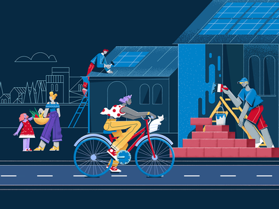 Hero illustration for Casa dei Cittadini dark blue colorful ui  ux ui web vector character illustration