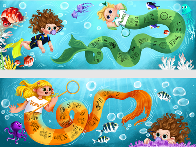 illustrated picture book _ Tail & Tale City mermaid fish underwater character children book illustration childrens illustration picturebook childrens book illustration
