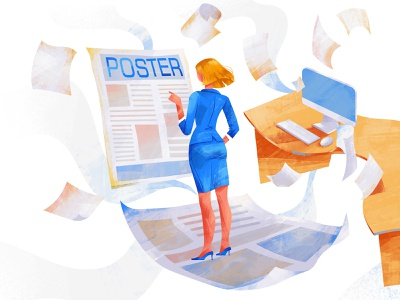 Poster branding design ux ui illustrator girl character illustration